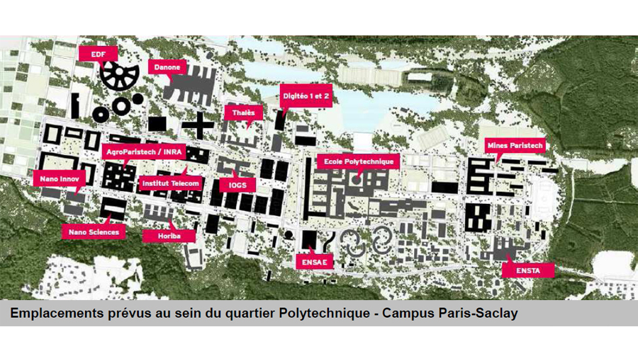 Plan du futur campus Paris-Saclay