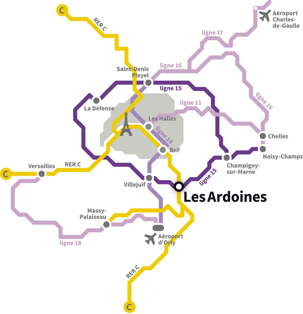 Situation des Ardoines dans le Grand Paris