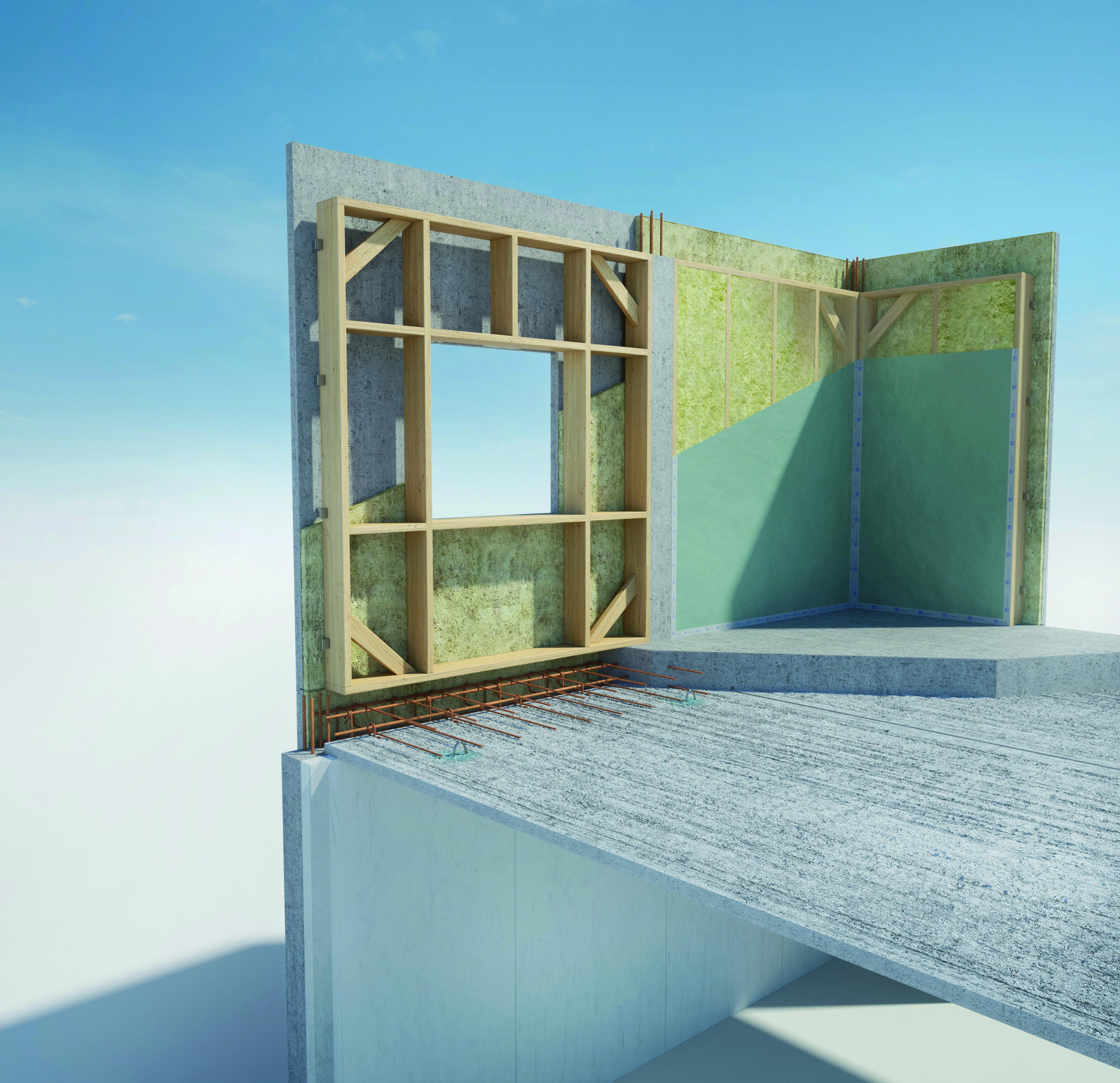 système constructif isolé à structure bois et parement béton