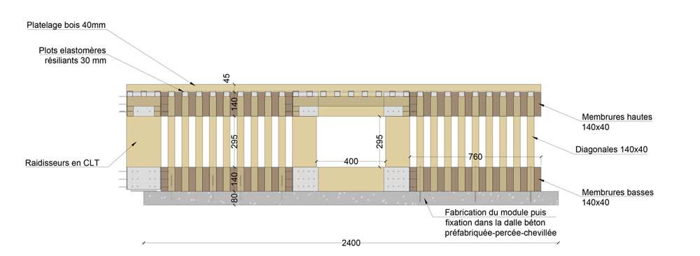 Détail de la structure mixte, composée de poutres en bois massif et d'une dalle béton.
