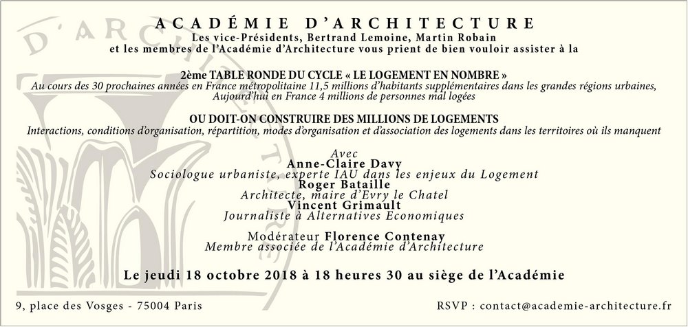 Table-ronde «Le logement en nombre» à l'académie d'architecture (Paris IVe)