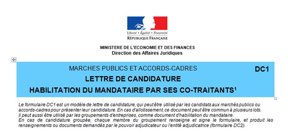 Marches Publics Les Formulaires De Candidature Incorporent Les